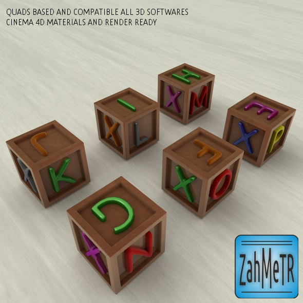 Letters Color Boxes and Quad Base - 3DOcean Item for Sale