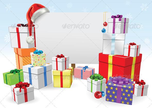 Christmas sign and gifts concept - Christmas Seasons/Holidays