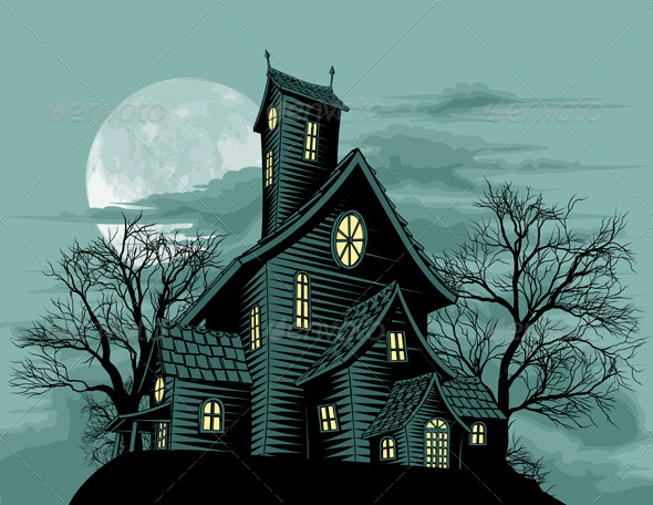 Creepy haunted ghost house scene illustration - Halloween Seasons/Holidays