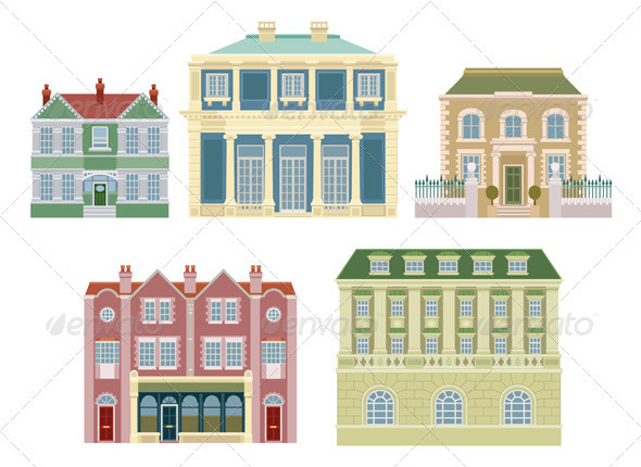 Luxury old fashioned houses buildings - Buildings Objects