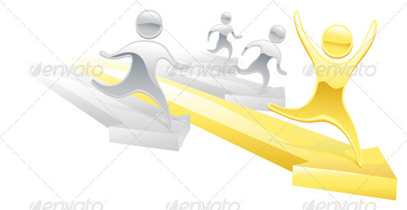 Metallic cartoon character race concept - Sports/Activity Conceptual