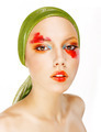 Fantasy. Glamor. Fashion Model in Green Shawl and Colorful Makeup - PhotoDune Item for Sale