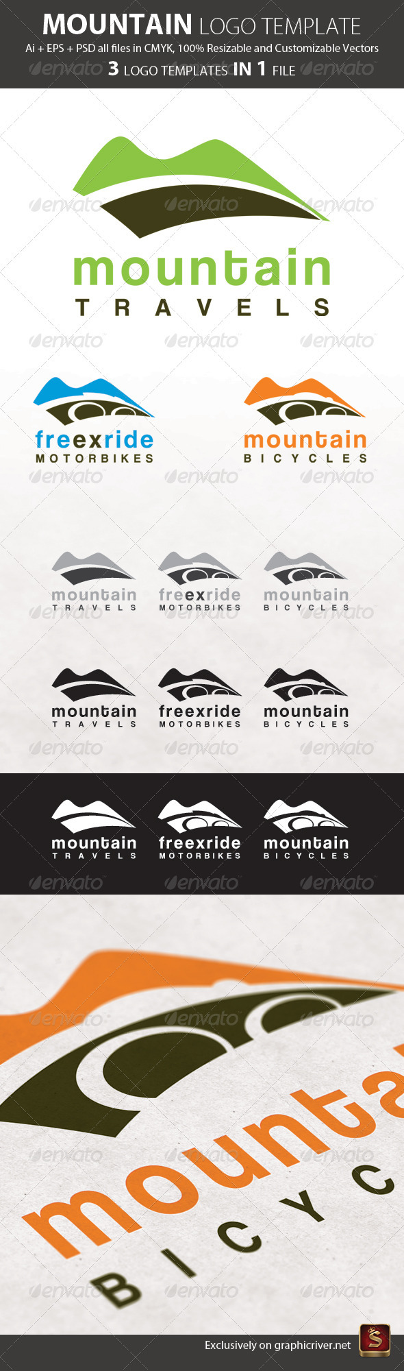 Mountain Logo Template 3in1 - Nature Logo Templates