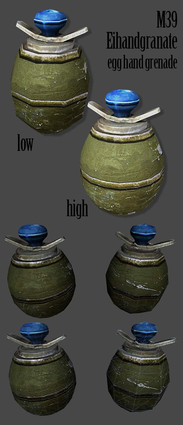 M39 Eihandgranate Egg Hand Grenade 3D Model - 3DOcean Item for Sale