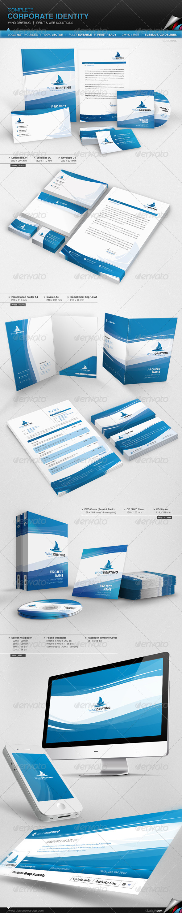 Corporate Identity - Wind Drifting - Stationery Print Templates