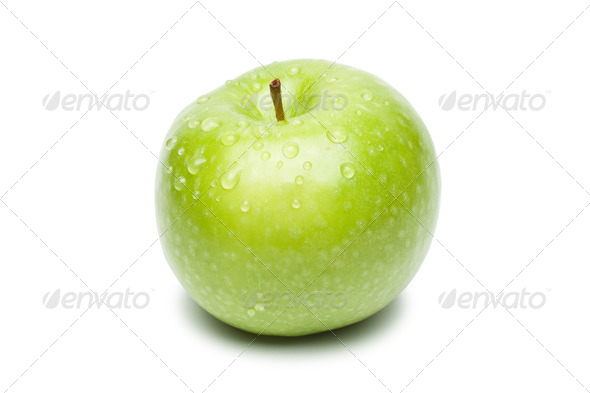 Fresh Green Apple With Waterdrops - Stock Photo - Images