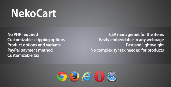 NekoCart - CSV-based jQuery Shopping Cart - CodeCanyon Item for Sale