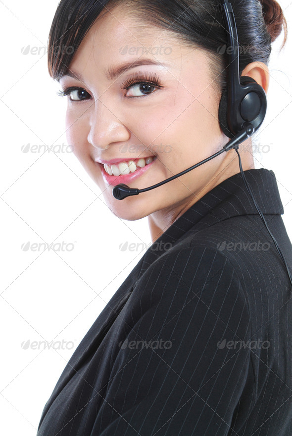 customer service operator with headset - Stock Photo - Images
