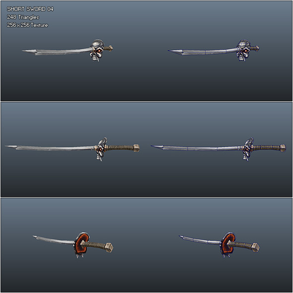 Low Poly Simple Short Sword 04 - 3DOcean Item for Sale