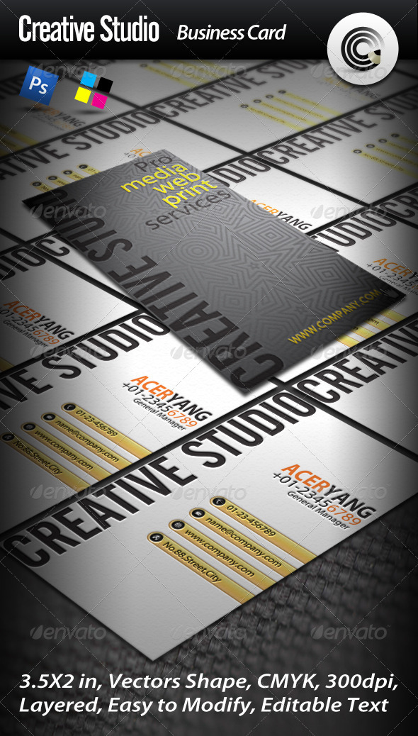 Clean Creative Studio Business Card - Creative Business Cards