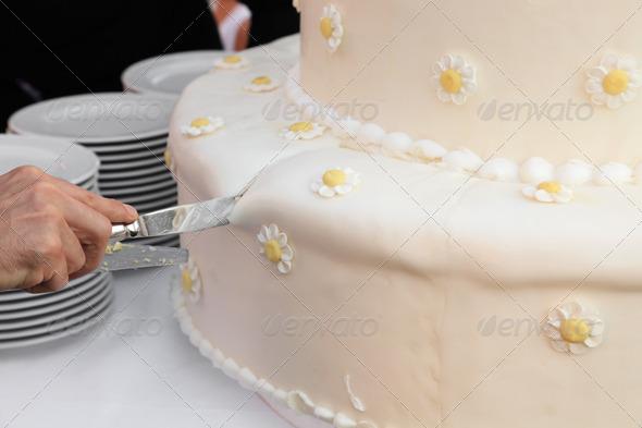 cutting wedding cake - Stock Photo - Images
