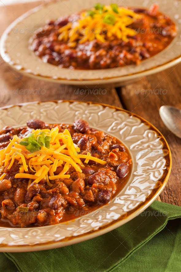 Spicy Homemade Chili Con Carne Soup - Stock Photo - Images