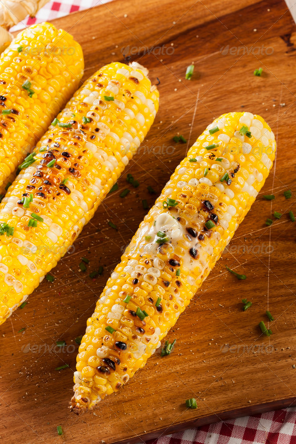 Organic Grilled Corn on the Cob - Stock Photo - Images