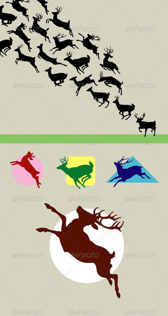 Deer Running Silhouettes - Animals Characters