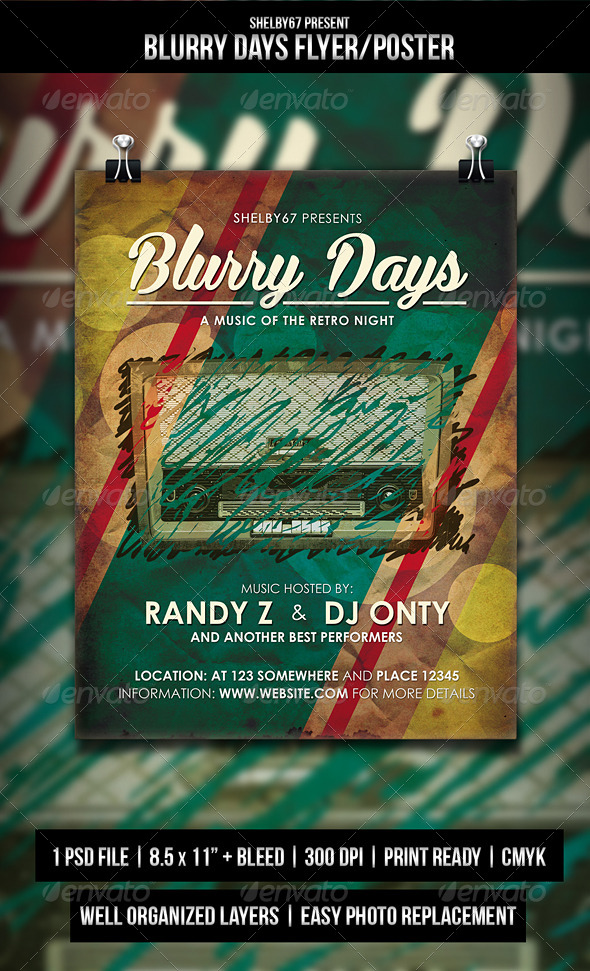 Blurry Days - Retro Flyer / Poster - Events Flyers