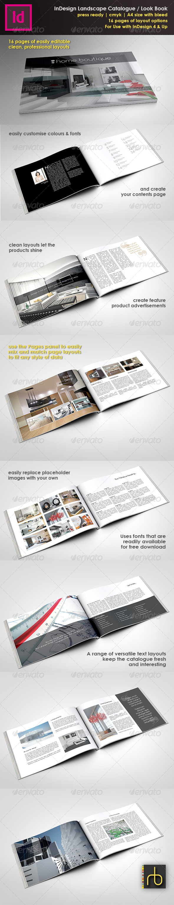 A4 Landscape Brochure/Look Book InDesign Template by ReneeBuckley ...