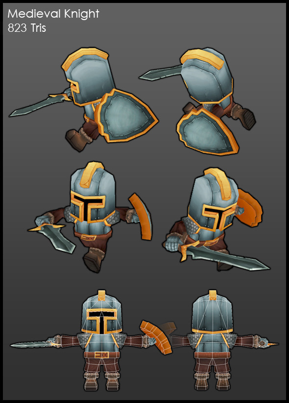 Low Poly Medieval Knight  - 3DOcean Item for Sale