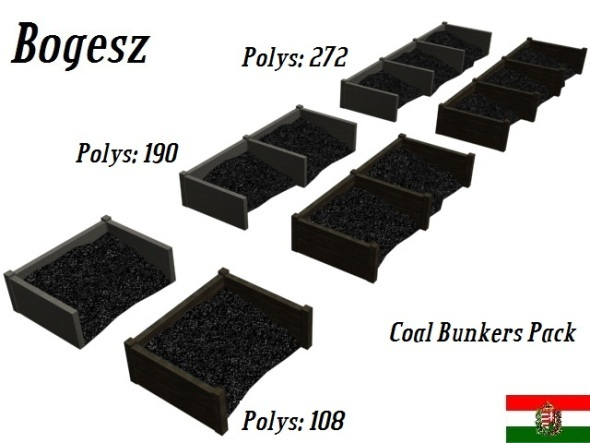 Textured Coal Bunkers Pack (Low Poly) - 3DOcean Item for Sale