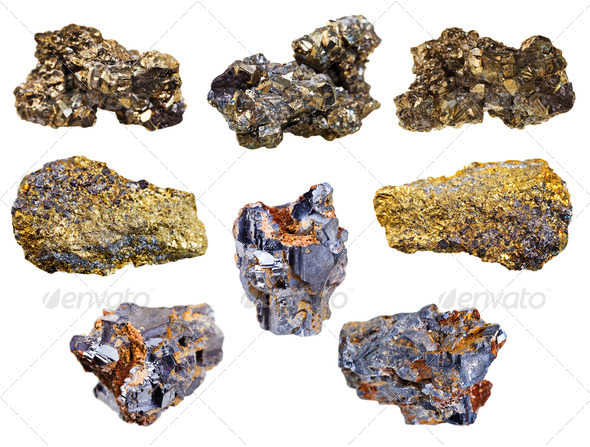 set of pyrite and chalcopyrite minerals - Stock Photo - Images