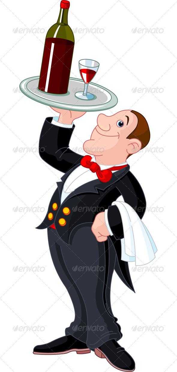 Cartoon waiter - People Characters