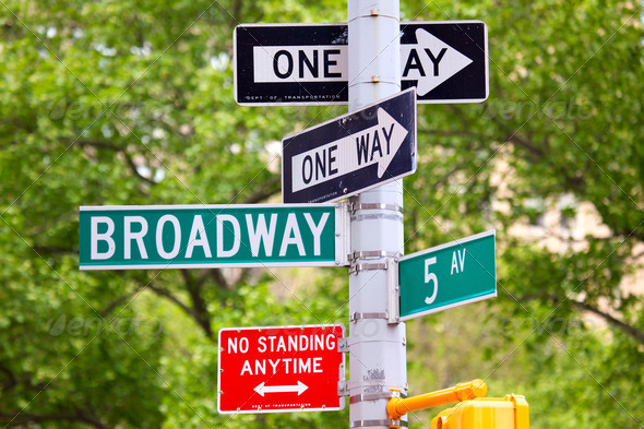 Broadway, 5th avenue and One Way Street Signs - Stock Photo - Images