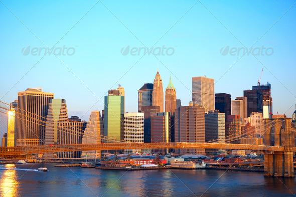 Manhattan at sunset - Stock Photo - Images