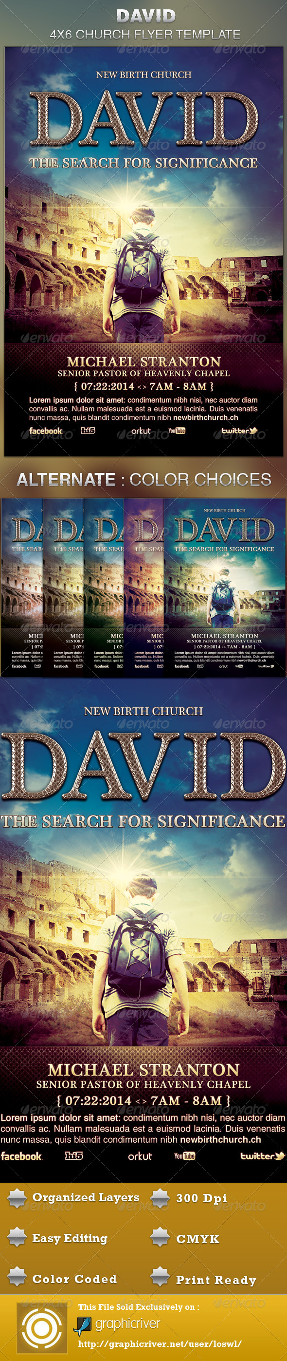 David Church Flyer Template - Church Flyers