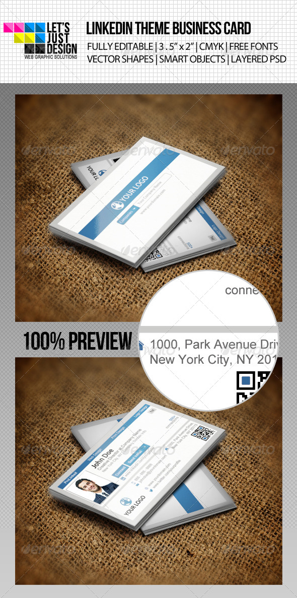 LinkedIn Social Network Business Card - Creative Business Cards