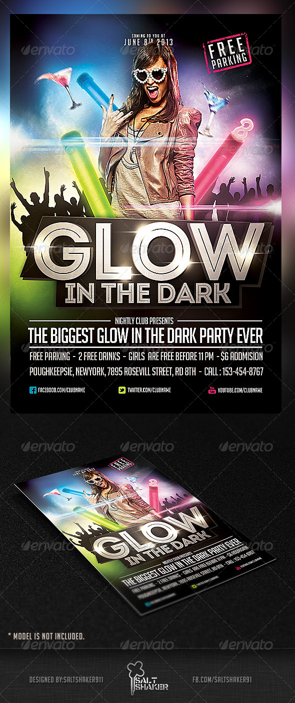 Glow in The Dark Party Flyer Template - Clubs & Parties Events