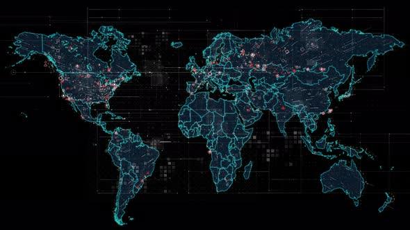 Digital World Map By RwFootage