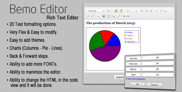 Bemo Editor - Rich Text Editor with Charts - CodeCanyon Item for Sale