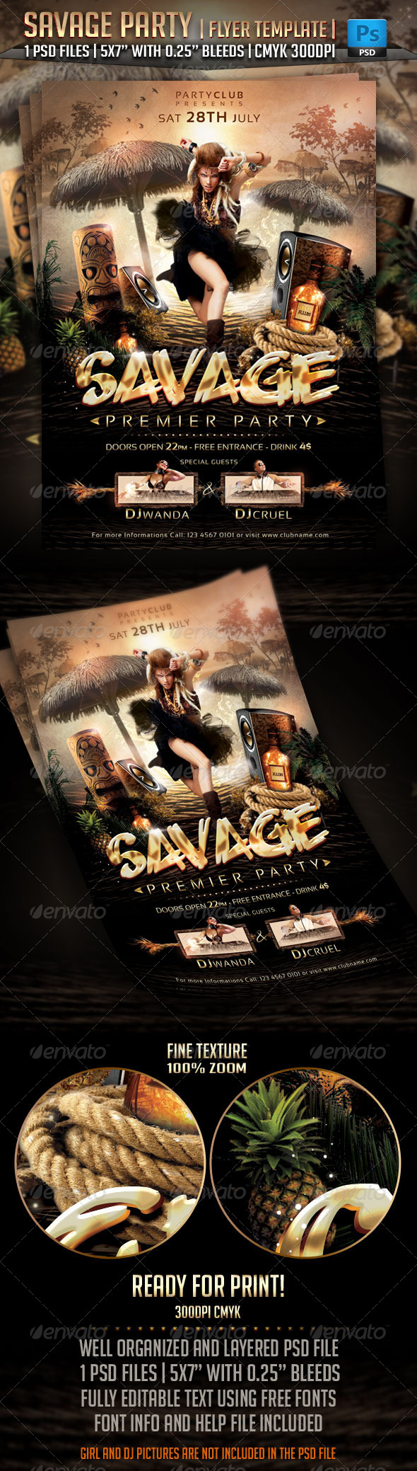 Savage Party Flyer Template - Clubs & Parties Events
