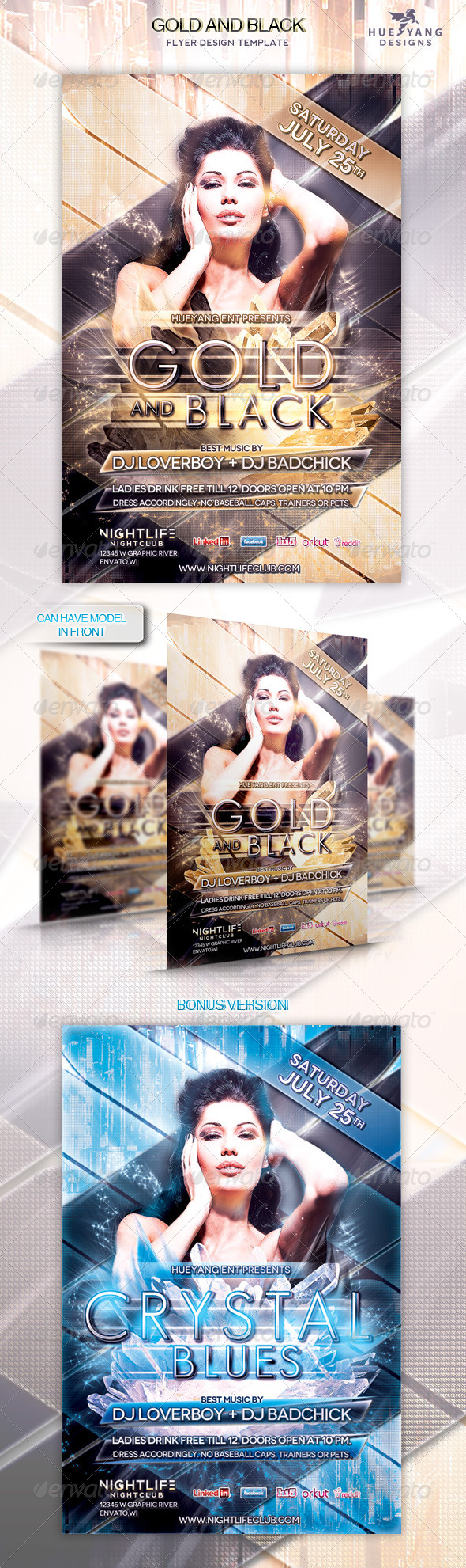Gold and Black Flyer Template - Clubs & Parties Events