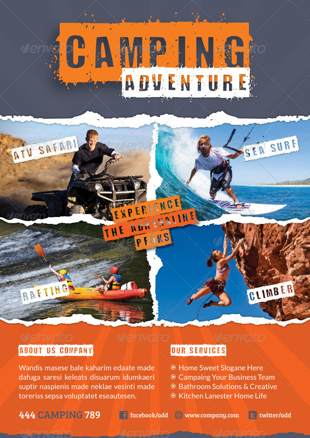 Camping Adventure Flyer Template By Grafilker | Graphicriver
