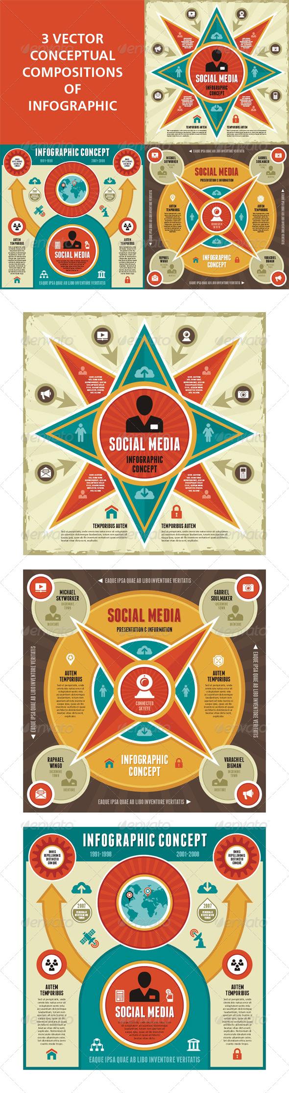 Infographic Concept - 3 Vector Scheme - Infographics