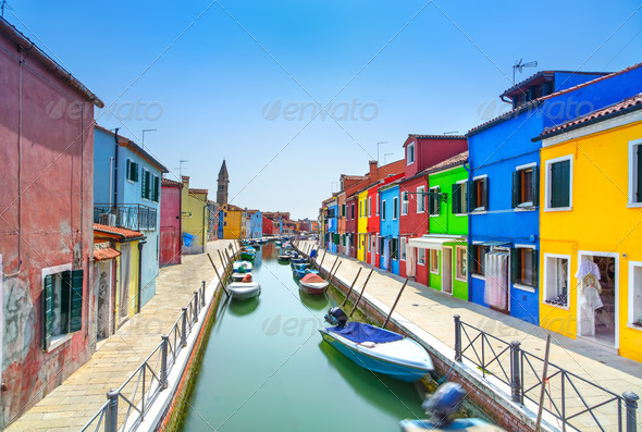 Venice landmark, Burano island canal, colorful houses and boats, Italy - Stock Photo - Images