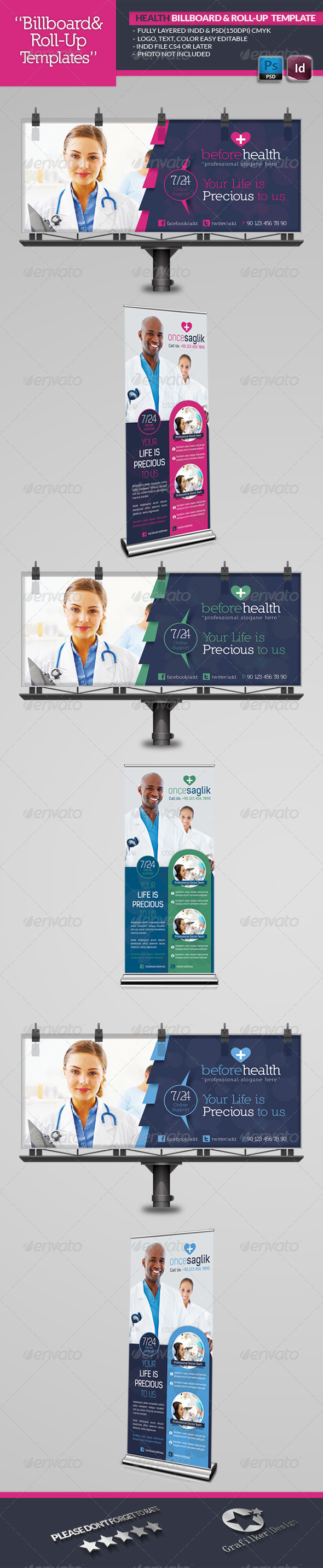 Health Roll-Up Template - Signage Print Templates