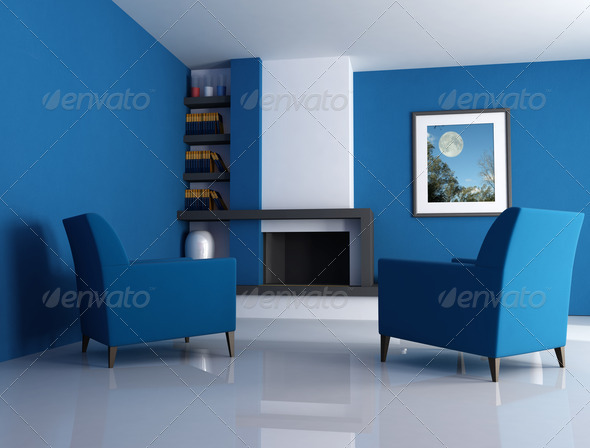 modern fireplace - Stock Photo - Images