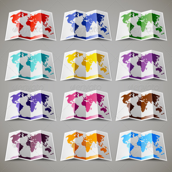 Set of Colored Maps of the World - Travel Conceptual