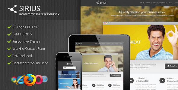 Sirius - Modern Minimalist Responsive 2 - Corporate Site Templates