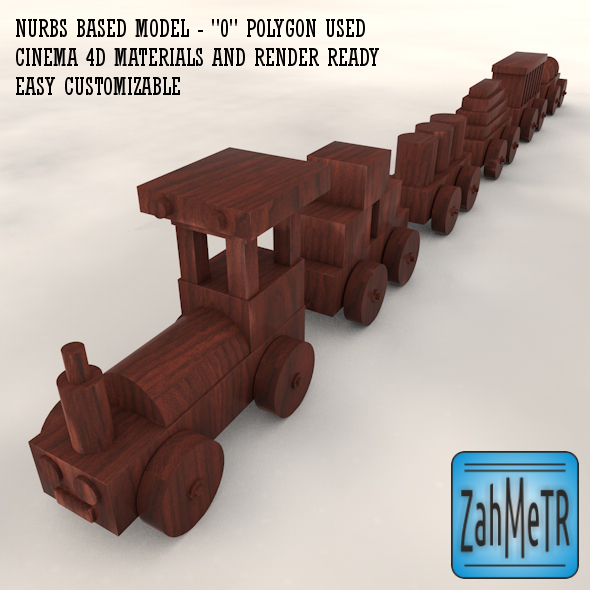 Wooden Train Car Toy Nurbs Based - 3DOcean Item for Sale