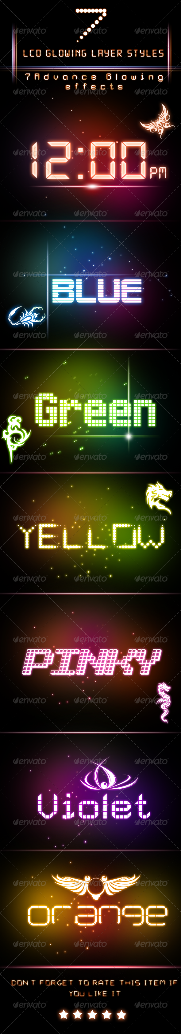 LCD Glowing Layer Styles - Text Effects Actions