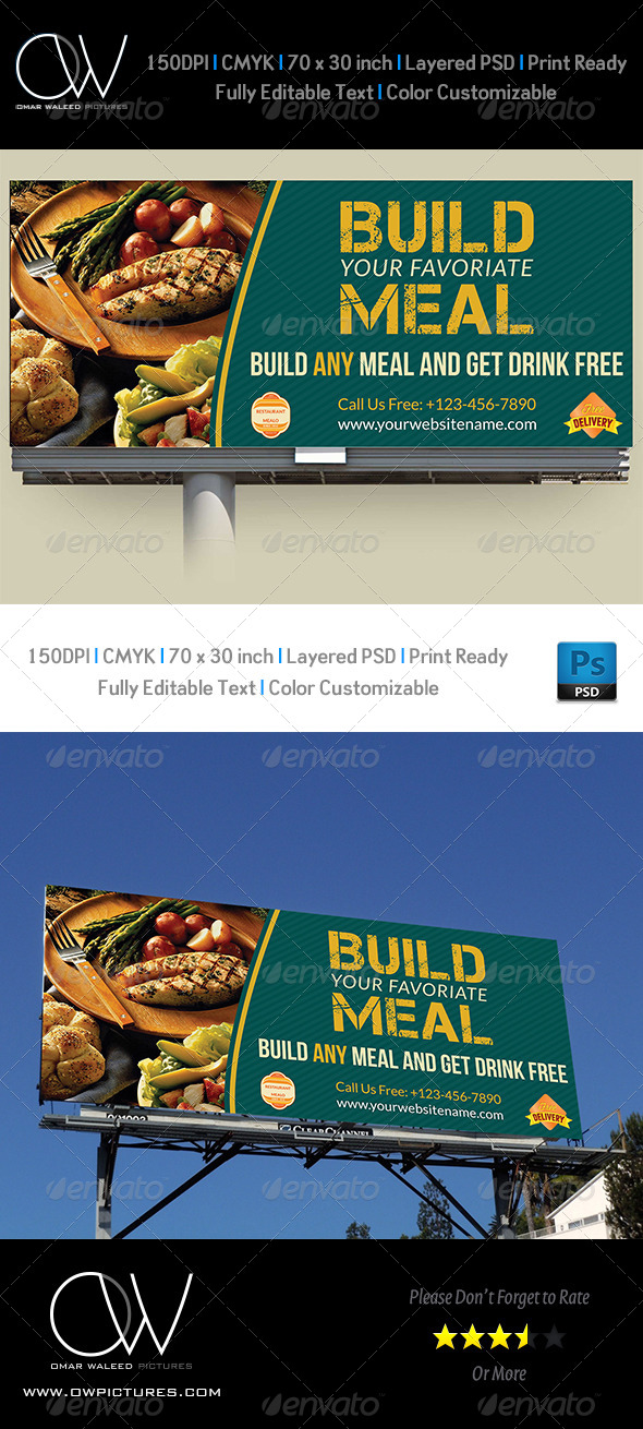 Restaurant Billboard Template  - Signage Print Templates