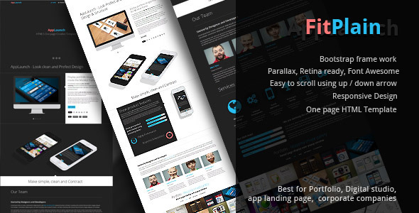 FitPlain- one page Creative portfolio Template by FMedia