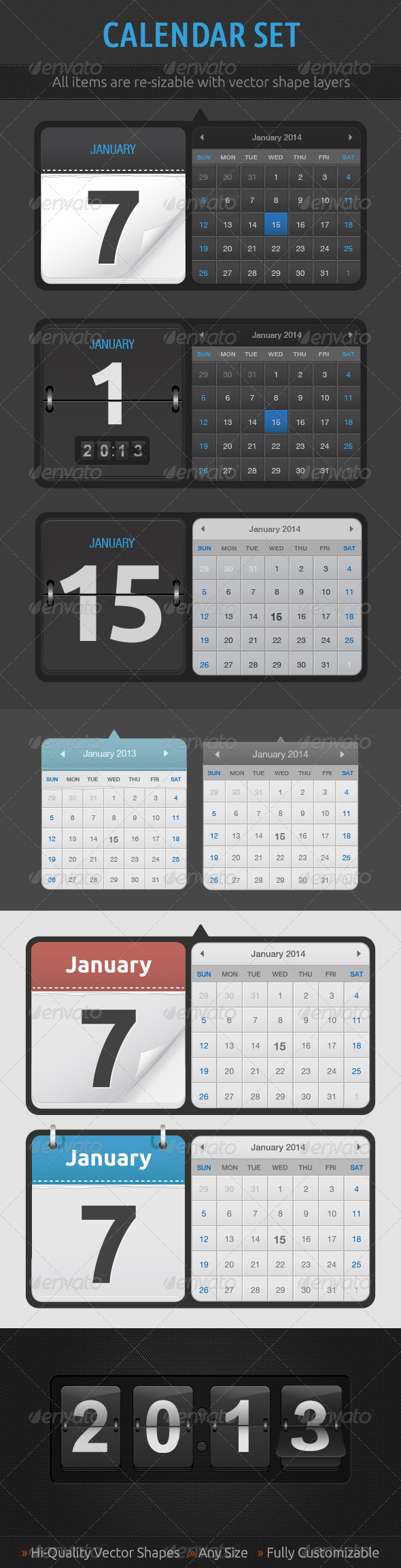 Calendar Set - Web Elements Vectors