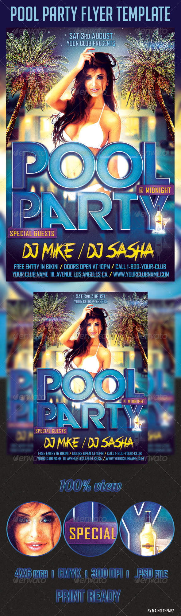 Pool Party Flyer Template - Clubs & Parties Events