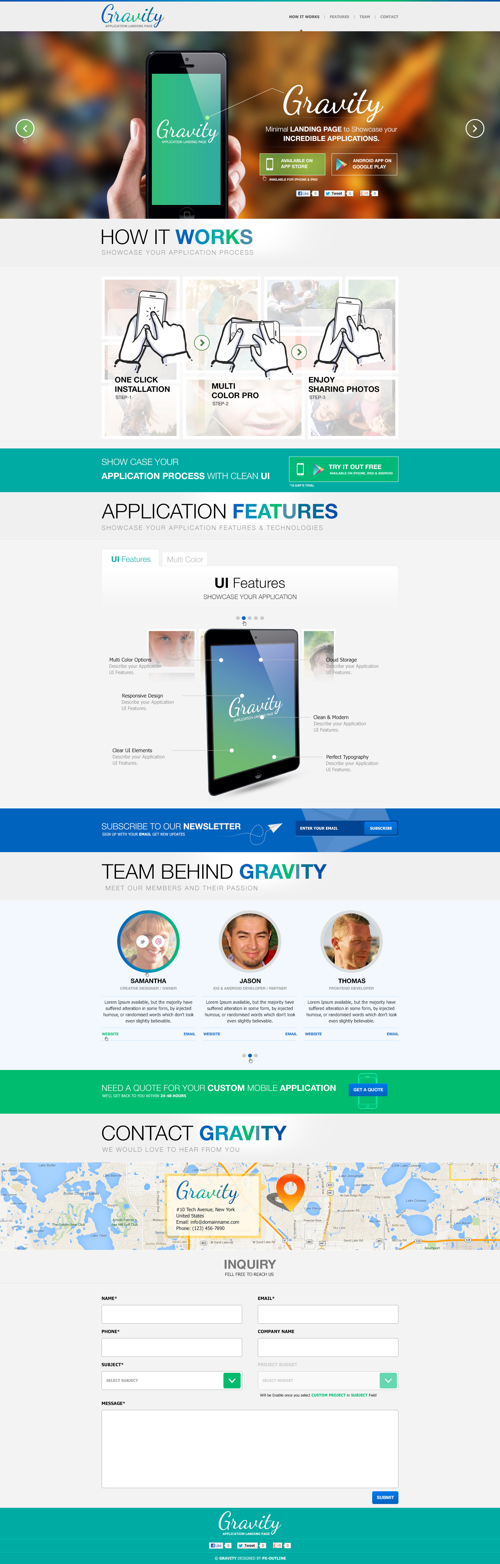 Gravity mobile app landing page psd by pxoutline for Facebook app template psd