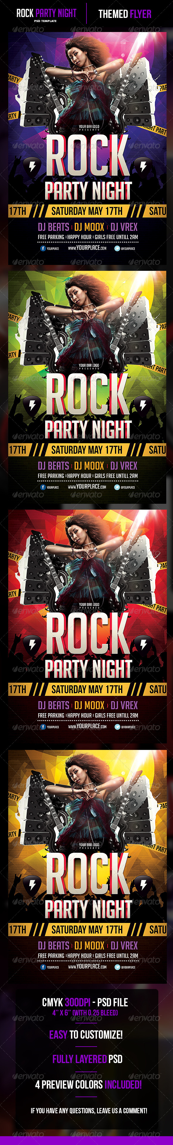 Rock Party Night Flyer Template - Flyers Print Templates