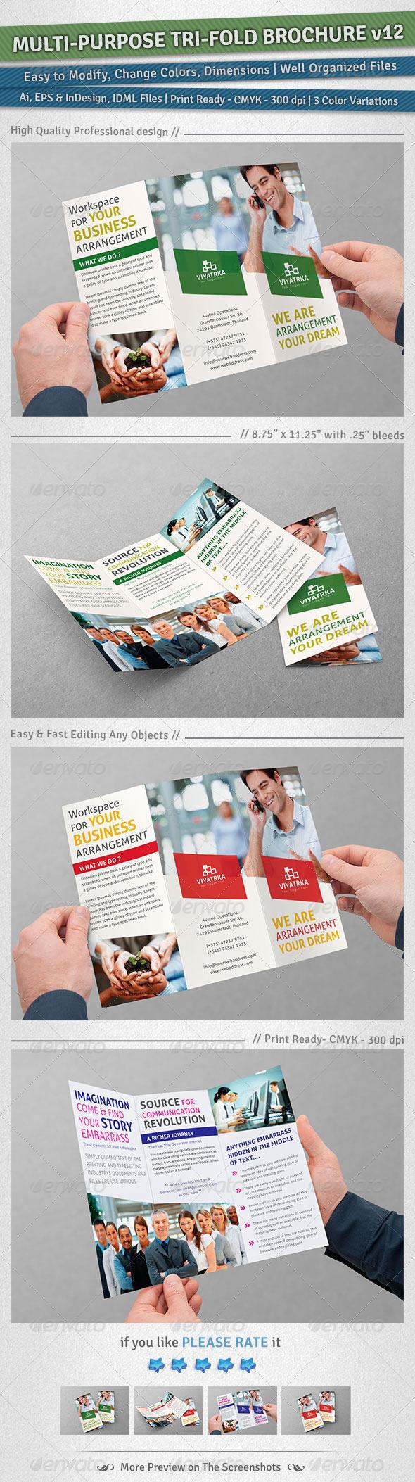 Multi-purpose Tri-Fold Brochure   Volume 12 - Corporate Brochures