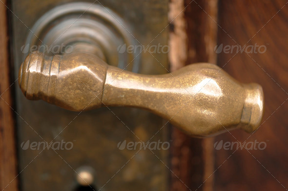 Ancient Brass Door Handle - Stock Photo - Images